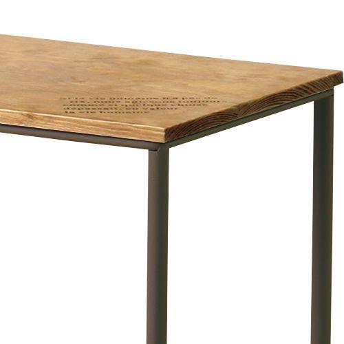 サイドテーブル スチールフレーム 天板木(パイン) マガジンラック付き W400×D200×H500(mm)商品画像4