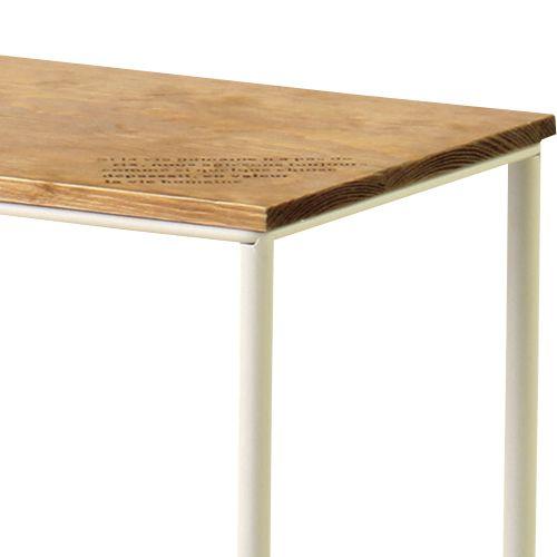 サイドテーブル スチールフレーム 天板木(パイン) マガジンラック付き W400×D200×H500(mm)商品画像5