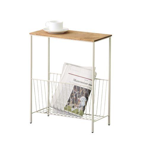 サイドテーブル スチールフレーム 天板木(パイン) マガジンラック付き W400×D200×H500(mm)商品画像8