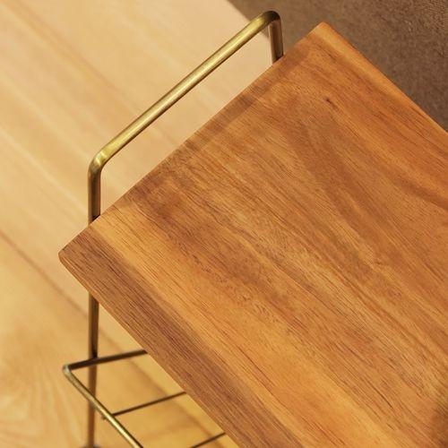 サイドテーブル スチールフレーム 天板木(アカシア) V字型マガジンラック付き W395×D210×H450(mm)商品画像6