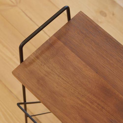 サイドテーブル スチールフレーム 天板木(アカシア) V字型マガジンラック付き W395×D210×H450(mm)商品画像7