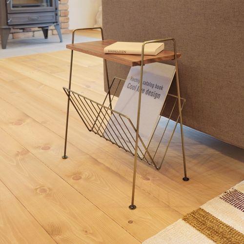 サイドテーブル スチールフレーム 天板木(アカシア) V字型マガジンラック付き W395×D210×H450(mm)商品画像8
