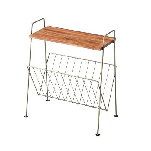 サイドテーブル スチールフレーム 天板木(アカシア) V字型マガジンラック付き W395×D210×H450(mm)のメイン画像