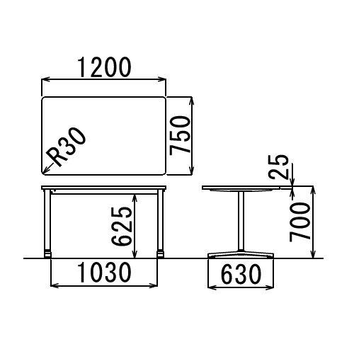 会議用テーブル 2本T字脚テーブル AL-1275 W1200×D750×H700(mm) ブラックカラー&アルミダイキャストベース脚商品画像2