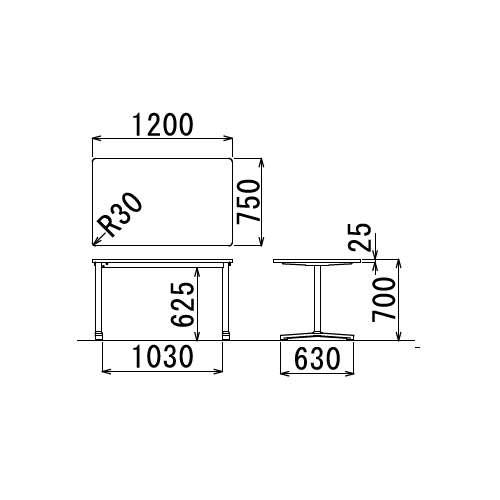 テーブル(会議用) アイコ 2本固定脚 AL-1275K W1200×D750×H700(mm) 角形天板 アルミダイキャストベース商品画像3