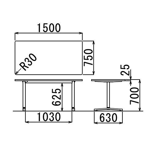会議用テーブル 2本T字脚テーブル AL-1575 W1500×D750×H700(mm) ブラックカラー&アルミダイキャストベース脚商品画像2