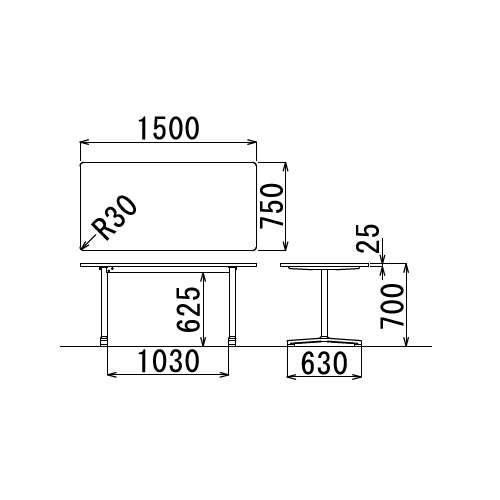 テーブル(会議用) アイコ 2本固定脚 AL-1575K W1500×D750×H700(mm) 角形天板 アルミダイキャストベース商品画像3
