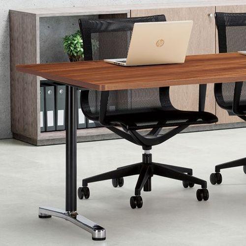 会議用テーブル 2本T字脚テーブル AL-1875 W1800×D750×H700(mm) ブラックカラー&アルミダイキャストベース脚商品画像6