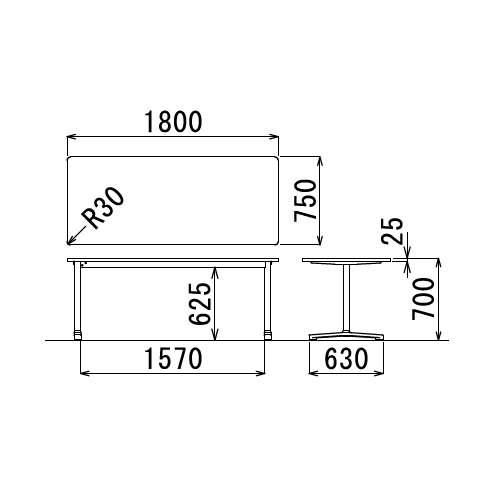 テーブル(会議用) アイコ 2本固定脚 AL-1875K W1800×D750×H700(mm) 角形天板 アルミダイキャストベース商品画像3