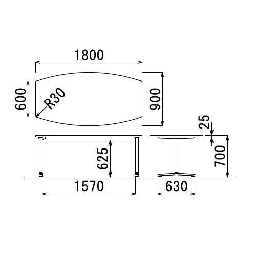【廃番】会議用テーブル 2本固定脚 AL-1890B W1800×D900×H700(mm) ボート形(舟形)天板 アルミダイキャストベース商品画像3