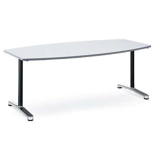会議用テーブル アイコ 2本固定脚 AL-1890B W1800×D900×H700(mm) ボート形(舟形)天板 アルミダイキャストベースのメイン画像
