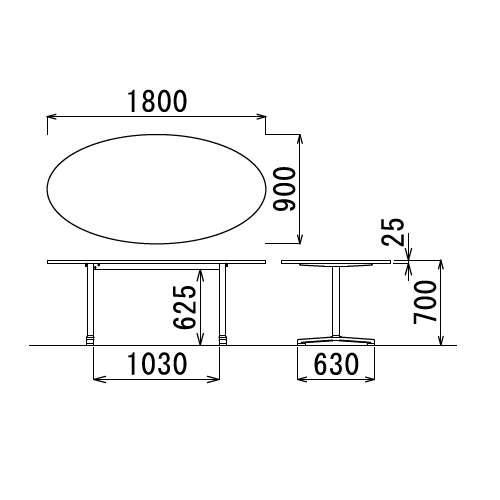 テーブル(会議用) アイコ 2本固定脚 AL-1890E W1800×D900×H700(mm) タマゴ形(卵形)天板 アルミダイキャストベース商品画像3