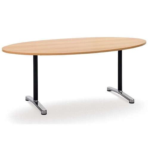 テーブル(会議用) アイコ 2本固定脚 AL-1890E W1800×D900×H700(mm) タマゴ形(卵形)天板 アルミダイキャストベースのメイン画像