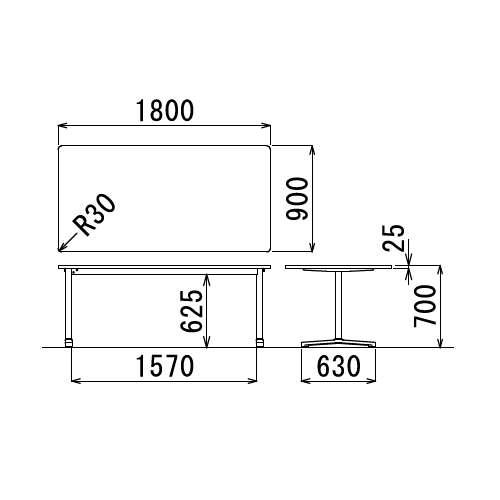 テーブル(会議用) アイコ 2本固定脚 AL-1890K W1800×D900×H700(mm) 角形天板 アルミダイキャストベース商品画像3