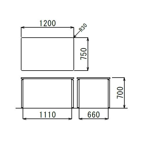 会議用テーブル AR-1275 W1200×D750×H700(mm) クロームメッキ4本脚テーブル リフレッシュ・ラウンジテーブル商品画像2