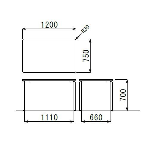 【廃番】会議用テーブル 4本脚テーブル AR-1275K W1200×D750×H700(mm) クロームメッキ商品画像3