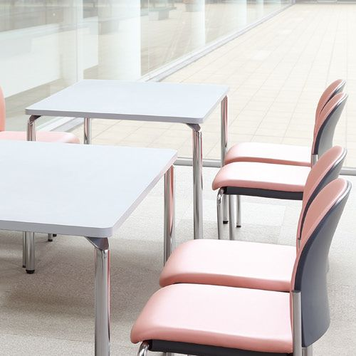 【廃番】会議用テーブル 4本脚テーブル AR-1275K W1200×D750×H700(mm) クロームメッキ商品画像5