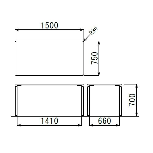 会議用テーブル AR-1575 W1500×D750×H700(mm) クロームメッキ4本脚テーブル リフレッシュ・ラウンジテーブル商品画像2