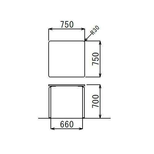 【廃番】会議用テーブル 正方形天板 750mm角 AR-750K W750×D750×H700(mm) クロームメッキ商品画像3