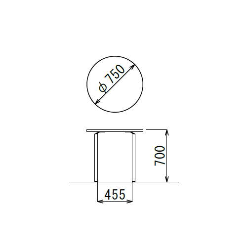 テーブル(会議用) 円形天板 750φ AR-750R W750×D750×H700(mm) クロームメッキ商品画像3