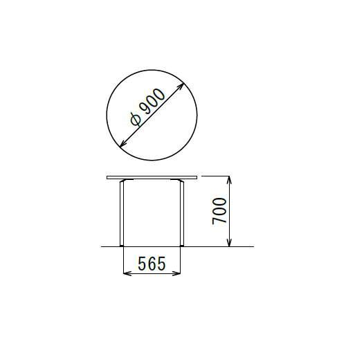 テーブル(会議用) 円形天板 900φ AR-900R W900×D900×H700(mm) クロームメッキ商品画像3