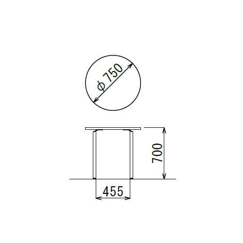 【廃番】会議用テーブル 円形天板 750φ ARW-750R W750×D750×H700(mm) ホワイト塗装脚商品画像3