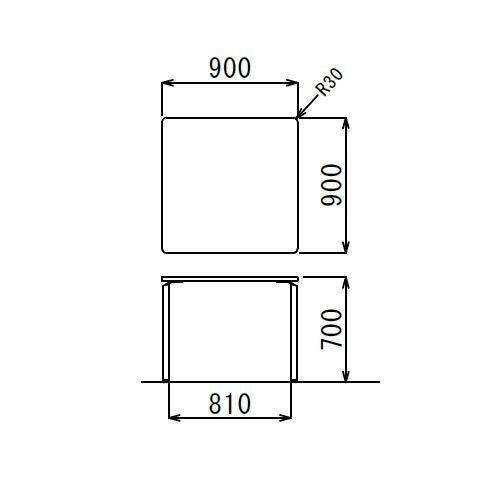 【廃番】会議用テーブル 正方形天板 900mm角 ARW-900K W900×D900×H700(mm) ホワイト塗装脚商品画像3