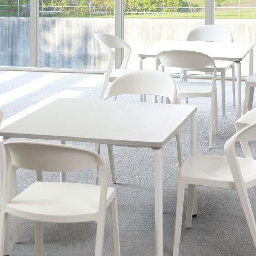 【廃番】会議用テーブル 正方形天板 900mm角 ARW-900K W900×D900×H700(mm) ホワイト塗装脚商品画像4