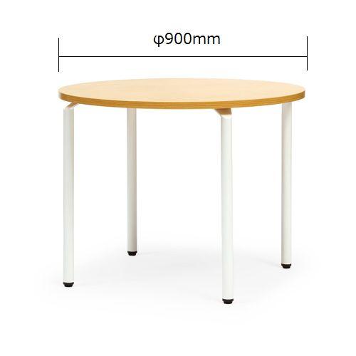 【廃番】会議用テーブル 円形天板 900φ ARW-900R W900×D900×H700(mm) ホワイト塗装脚のメイン画像