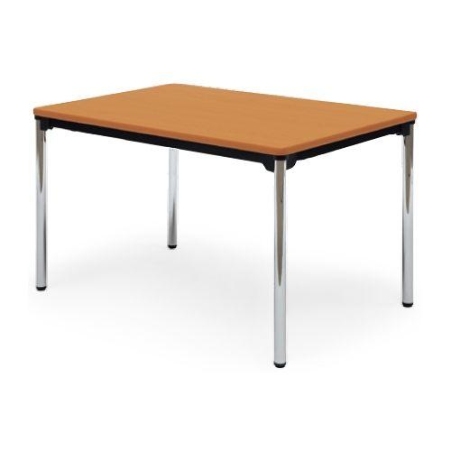 【廃番】会議用テーブル 4本脚テーブル スチールパイプ脚 クロームメッキ 棚なし AT-1275SE W1200×D750×H700(mm) ソフトエッジ巻きのメイン画像