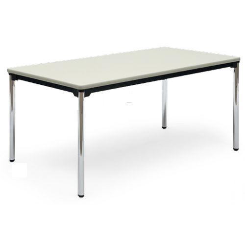 【廃番】会議用テーブル 4本脚テーブル スチールパイプ脚 クロームメッキ 棚なし AT-1575SE W1500×D750×H700(mm) ソフトエッジ巻きのメイン画像