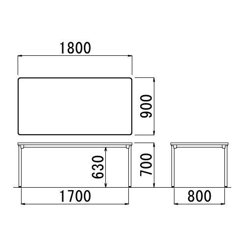 会議用テーブル 4本脚テーブル スチールパイプ・ブラック塗装 ATB-1890 W1800×D900×H700(mm)商品画像2