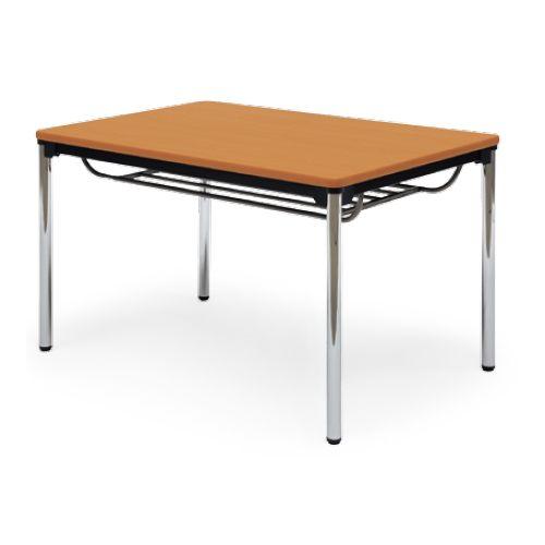 【廃番】会議用テーブル 4本脚テーブル スチールパイプ脚 クロームメッキ 棚付き ATS-1275SE W1200×D750×H700(mm) ソフトエッジ巻きのメイン画像