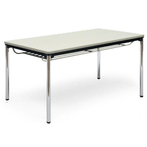 【廃番】会議用テーブル 4本脚テーブル スチールパイプ脚 クロームメッキ 棚付き ATS-1575SE W1500×D750×H700(mm) ソフトエッジ巻きのメイン画像