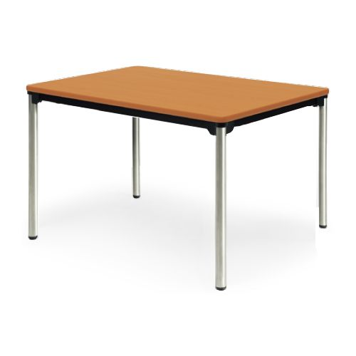 会議用テーブル 4本脚テーブル ステンレスパイプ脚 棚なし ATX-1275SE W1200×D750×H700(mm) ソフトエッジ巻きのメイン画像