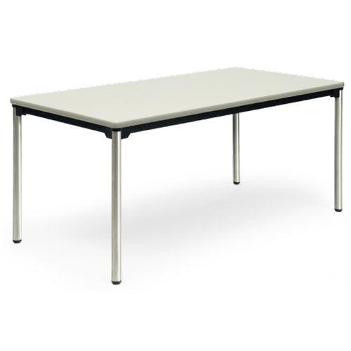 【廃番】会議用テーブル 4本脚テーブル ステンレスパイプ脚 棚なし ATX-1575SE W1500×D750×H700(mm) ソフトエッジ巻きのメイン画像