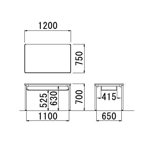 【廃番】会議用テーブル 4本脚テーブル ステンレスパイプ脚 棚付き ATXS-1275SE W1200×D750×H700(mm) ソフトエッジ巻き商品画像2
