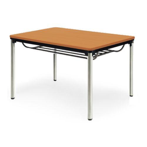 【廃番】会議用テーブル 4本脚テーブル ステンレスパイプ脚 棚付き ATXS-1275SE W1200×D750×H700(mm) ソフトエッジ巻きのメイン画像
