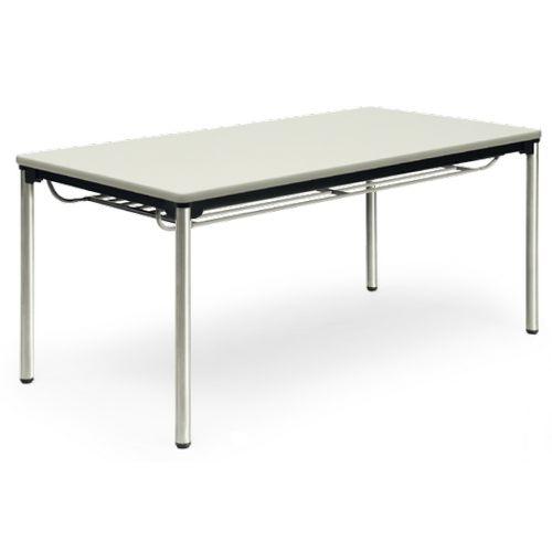 【廃番】会議用テーブル 4本脚テーブル ステンレスパイプ脚 棚付き ATXS-1575SE W1500×D750×H700(mm) ソフトエッジ巻きのメイン画像