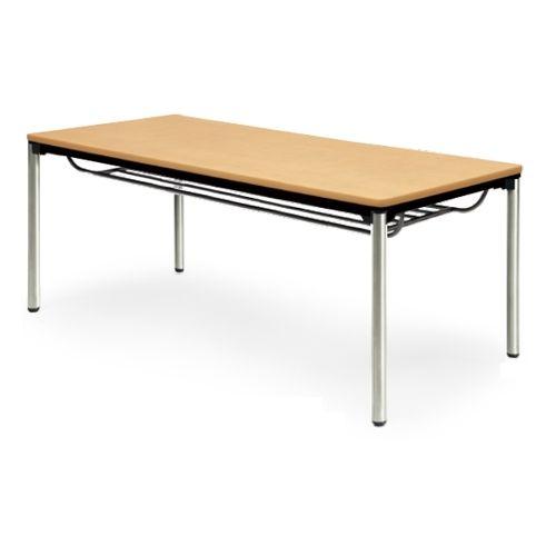 【廃番】会議用テーブル 4本脚テーブル ステンレスパイプ脚 棚付き ATXS-1875SE W1800×D750×H700(mm) ソフトエッジ巻きのメイン画像
