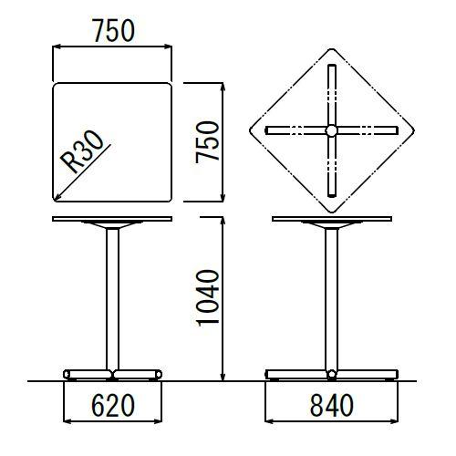 会議用テーブル ハイタイプ 正方形天板 750mm角 BTHS-750K W750×D750×H1040(mm) 1本+クロス脚 シルバー塗装脚 アジャスター付き商品画像2