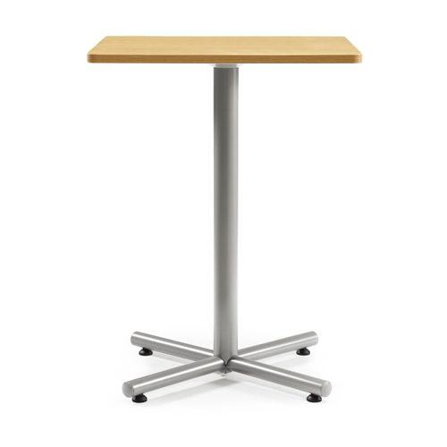 会議用テーブル ハイタイプ 正方形天板 750mm角 BTHS-750K W750×D750×H1040(mm) 1本+クロス脚 シルバー塗装脚 アジャスター付きのメイン画像