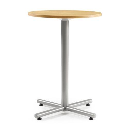 会議用テーブル ハイタイプ 円形天板 750φ BTHS-750R W750×D750×H1040(mm) 1本+クロス脚 シルバー塗装脚 アジャスター付きのメイン画像