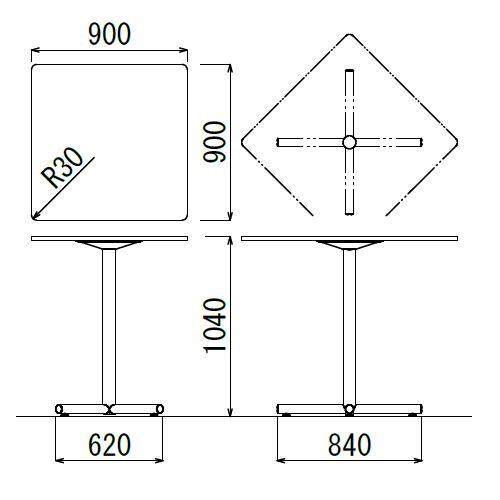 【廃番】会議用テーブル ハイタイプ 正方形天板 900mm角 BTHS-900K W900×D900×H1040(mm) 1本+クロス脚 シルバー塗装脚 アジャスター付き商品画像2