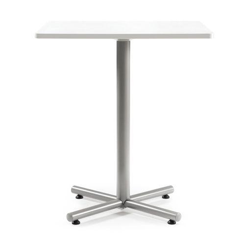 【廃番】会議用テーブル ハイタイプ 正方形天板 900mm角 BTHS-900K W900×D900×H1040(mm) 1本+クロス脚 シルバー塗装脚 アジャスター付きのメイン画像