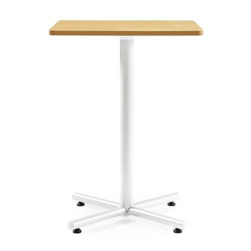【廃番】会議用テーブル ハイタイプ 正方形天板 750mm角 BTHW-750K W750×D750×H1040(mm) 1本+クロス脚 ホワイト塗装脚 アジャスター付きのメイン画像