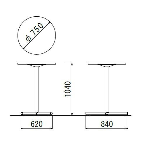 会議用テーブル ハイタイプ 円形天板 750φ BTHW-750R W750×D750×H1040(mm) 1本+クロス脚 ホワイト塗装脚 アジャスター付き商品画像2