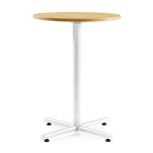 会議用テーブル ハイタイプ 円形天板 750φ BTHW-750R W750×D750×H1040(mm) 1本+クロス脚 ホワイト塗装脚 アジャスター付きのメイン画像