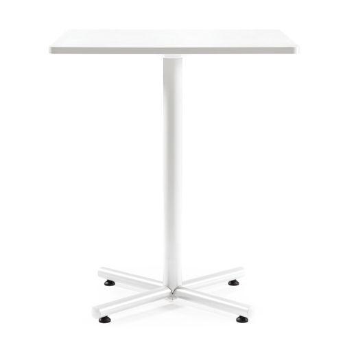 【廃番】会議用テーブル ハイタイプ 正方形天板 900mm角 BTHW-900K W900×D900×H1040(mm) 1本+クロス脚 ホワイト塗装脚 アジャスター付きのメイン画像