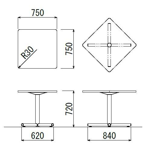 【廃番】会議用テーブル 正方形天板 750mm角 BTS-750K W750×D750×H720(mm) 1本+クロス脚 シルバー塗装脚 アジャスター付き商品画像2